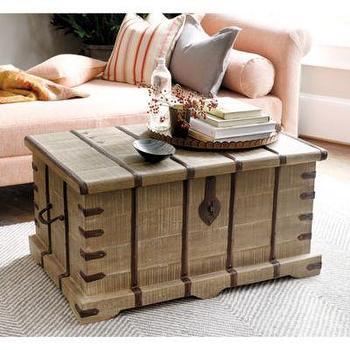 Storage Furniture - Kashmir Storage Trunk I Ballard Designs - mango wood storage trunk, indian storage trunk, wooden indian trunk, wooden trunk with metal strap,