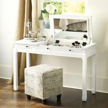 Storage Furniture - Sophie Vanity I Ballard Designs - white dressing table, white asian dressing table, white dressing table with mirror, dressing table with pop up mirror, dressing table with pull up mirror,