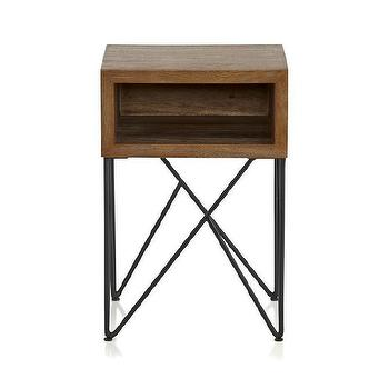 Tables - Dixon Side Table I Crate and Barrel - open shelf nightstand, wood and iron nightstand, wood nightstand with iron base, geometric iron based nightstand,