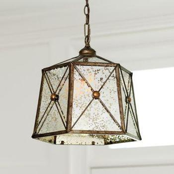 Lighting - Rennes 1-Light Pendant I Ballard Designs - mercury glass pendant light, faceted mercury glass pendant, antiqued mercury glass pendant,