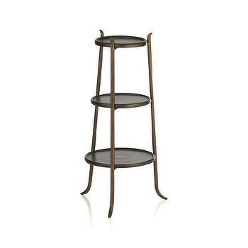 Tables - Lulu Accent Table I Crate and Barrel - antique brass accent table, brass tiered accent table, three tier brass accent table,