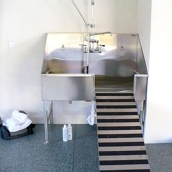 Brooks & Falotico - garages - dog shower, doggy shower, stainless steel dog shower, stainless steel dog shower with ramp, decorative concrete floors, painted concrete floors, dog shower with ramp, mudroom dog shower, dog shower ideas, dog grooming sink,