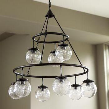 Lighting - Darby 9-Light Chandelier I Ballard Designs - seeded glass globe pendant, tiered glass sphere pendant, industrial chandelier with glass shades,
