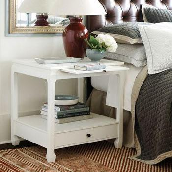 Storage Furniture - Sophie Side Table I Ballard Designs - white asian side table, asian style nightstand, nightstand with pull out tray,