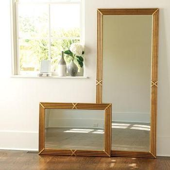 Mirrors - Regal Mirror I Ballard Designs - reeded gold mirror, aged gold mirror, rectangular gold mirror, antiqued gold mirror,
