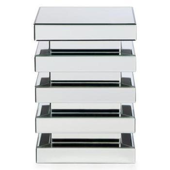 Tables - Matrix Pedestal   Z Gallerie - mirrored side table, mirrored pedestal table, modern mirrored accent table,