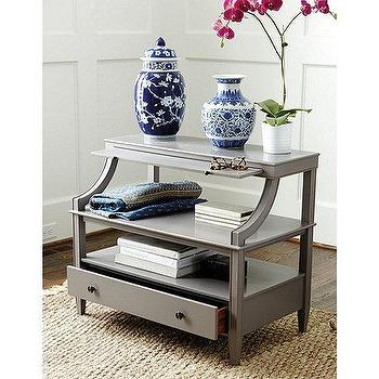 Storage Furniture - Sidney Open Side Table | Ballard Designs - gray open side table, gray side table with shelves, gray open shelf nightstand,