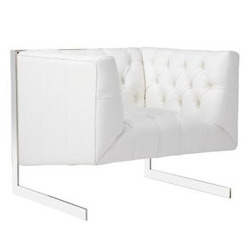Seating - Skyler Chair | Z Gallerie - white diamond tufted arm chair, modern tufted arm chair, steel framed tufted arm chair,