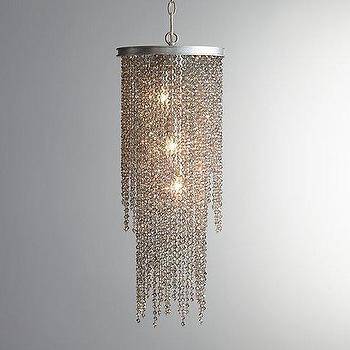Lighting - Athena Crystal Grand Chandelier Smoke I RH Baby and Child - gray crystal bead chandelier, smoked crystal bead chandelier, smoked crystal strand chandelier,