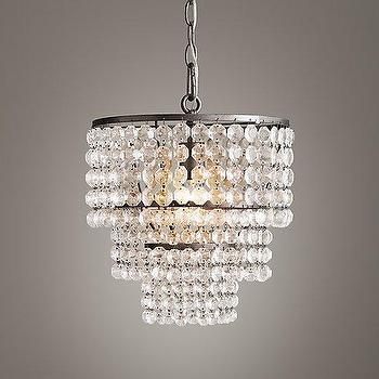 Lighting - Soho Crystal Small Chandelier I RH Baby and Child - tiered crystal chandelier, faceted crystal chandelier, art deco style crystal chandelier,