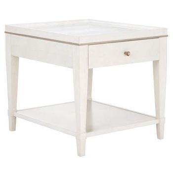 Tables - Hayden End Table | Z Gallerie - white faux croc end table, single drawer faux croc end table, white faux crocodile side table,