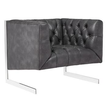 Seating - Skyler Chair | Z Gallerie - tufted leather arm chair, steel framed leather arm chair, gray leather tufted arm chair,