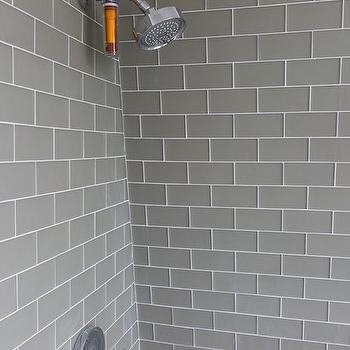 Gray grout white subway tile