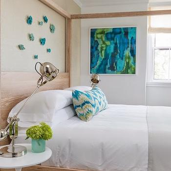 Rachel Reider Interiors - bedrooms - turquoise abstract, turquoise abstract art, canopy bed, wood canopy bed, turquoise wall flowers, dove gray blanket, round bedside tables, white bedside table, white round bedside tables, pharmacy table lamp, pharmacy bedside lamps, jute rug, rug under bed, bed chandelier, pendant over bed, lighting over bed, lighting above bed, turquoise accents, turquoise room accents, turquoise bedroom accents, painted accent wall, bedroom accent wall, oak bed, oak canopy bed,