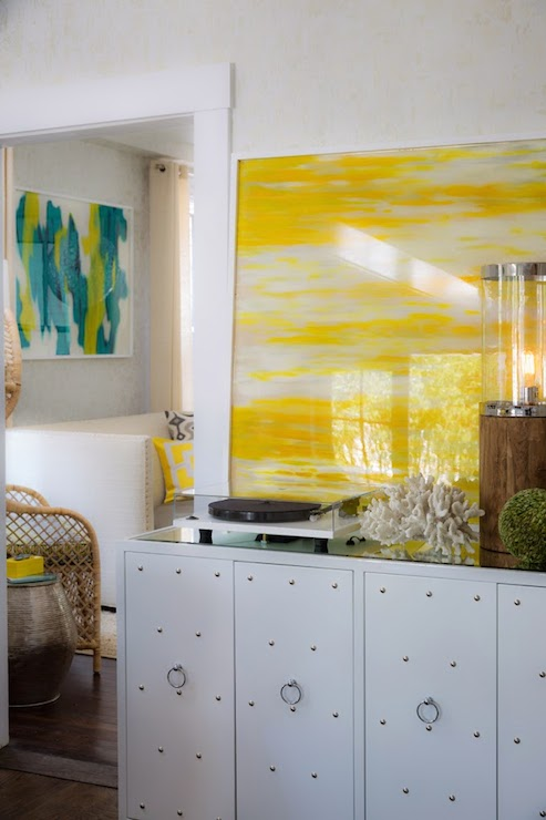 Rachel Reider Interiors - entrances/foyers - Studly White Lacquer Studded Console Buffet Table, white and yellow foyer, white and yellow entry, yellow art, yellow abstract art, studded cabinet, white studded cabinet, worlds away cabinet, worlds away studded cabinet,