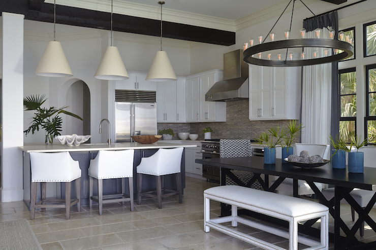 Black X Based Dining Table Transitional Kitchen