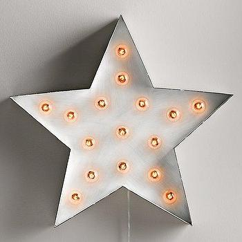 Art/Wall Decor - Vintage Illuminated Star White I RH Baby and Child - star marquee light, metal star wall light, steel star shaped wall light,