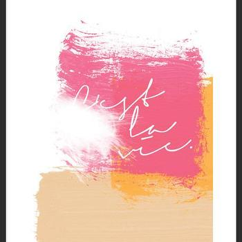 Art/Wall Decor - C'est La Vie Print | Luciana - cest la vie print, handmade  colorful print, pink with orange print, brush strokes print