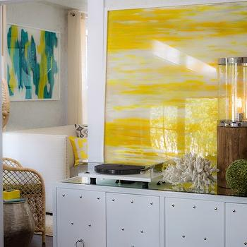Rachel Reider Interiors - entrances/foyers - white and yellow foyer, white and yellow entry, yellow art, yellow abstract art, studded cabinet, white studded cabinet, worlds away cabinet, worlds away studded cabinet,