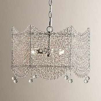 Lighting - Coco Crystal Medium Chandelier I RH Baby and Child - crystal draped chandelier, faceted crystal chandelier, art deco crystal chandelier,