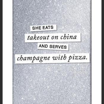 Art/Wall Decor - Champagne & Pizza Print | Luciana - quote print, handmade print, black white silver print, metallic print, sparkly print