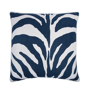 Bedding - THOMAS PAUL ZEBRA PILLOW COVER - Feathered - thomas paul pillow, zebra pillow, blue zebra pillow, navy blue zebra pillow, zebra pillow cover, white with navy pillow