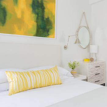 Rachel Reider Interiors - bedrooms - white bed, yellow pillows, white and yellow pillows, white tray nightstands, tray nightstands, yellow and green art, yellow and green abstract art, tray table nightstand, tray bedside table, swing arm sconce, swing arm bedroom sconce, art over bed, over the bed art, dove gray throw, yellow and green bedrooms, yellow and green rooms, yellow accents, yellow room accents, yellow bedroom accents, white tray nightstands, tray nightstands, dove gray throw, dove gray throw blanket, dove gray blanket, leather captains mirror, white leather mirror, white captains mirror, tiled dresser, 2 tone dresser, west elm dresser,