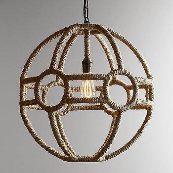 Lighting - Rope Orb Pendant I RH Baby and Child - round rope pendant light, jute rope pendant light, sphere shaped rope pendant,