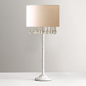 Lighting - Nathalie Crystal Table Lamp With Shade I RH Baby and Child - white lamp with crystal trim, crystal trimmed table lamp, crystal trimmed lamp shade,