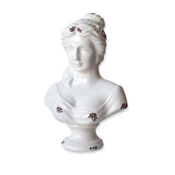 Decor/Accessories - Large Bust - Feathered - large bust jewelry holder, ceramic jewelry holder, white figure jewelry storage, vintage jewelry holder