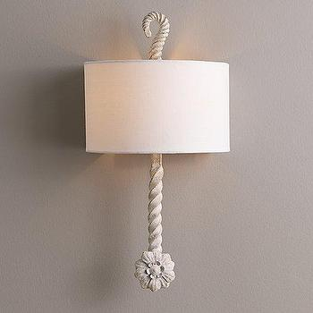 Lighting - Calla Sconce Rustic White I RH Baby and Child - white iron wall sconce, antiqued white wall sconce, twisted iron wall sconce,