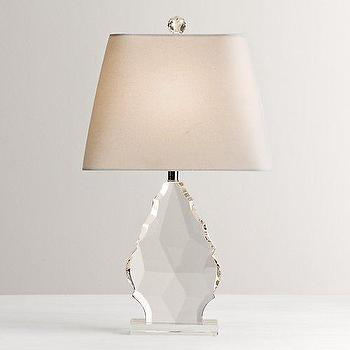 Lighting - Grand Faceted Crystal Table Lamp Base I RH Baby and Child - faceted crystal lamp, teardrop shaped crystal lamp, solid crystal faceted lamp,