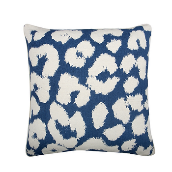 Bedding - THOMAS PAUL LEOPARD PILLOW COVER - Feathered - thomas paul pillow, leopard pillow, blue leopard pillow, cobalt blue leopard pillow, leopard pillow cover