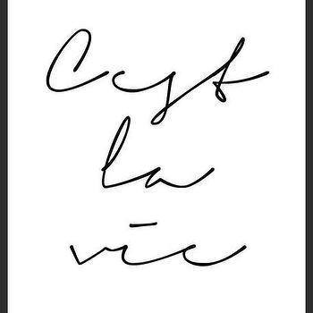 Art/Wall Decor - C'est La Vie Print | Luciana - cest la vie print, black with white print, handmade print, cursive font print