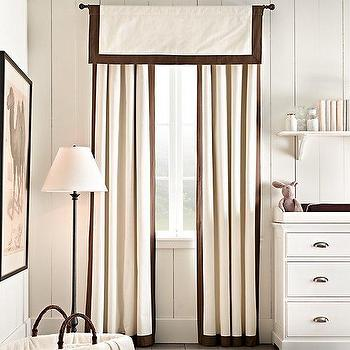 Window Treatments - Bordered Cotton Canvas Drapery Panel I RH Baby and Child - ivory drapes with brown border, brown trimmed ivory drapes, ivory and brown drapes,