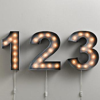 Vintage Illuminated Marquee Number I RH Baby and Child