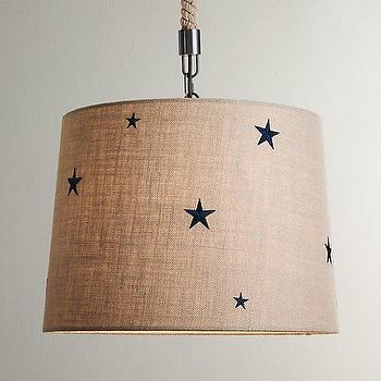 Lighting - Embroidered Star Burlap Pendant Dove I RH Baby and Child - burlap pendant with navy stars, burlap pendant with embroidered stars, burlap pendant with star print,