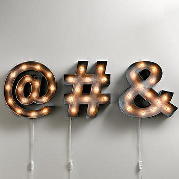 Art/Wall Decor - Vintage Illuminated Marquee Symbol I RH Baby and Child - at marquee sign, hash tag marquee sign, ampersand marquee sign, vintage marquee sign, vintage marquee light,
