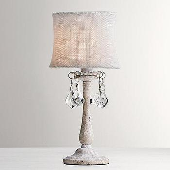 Lighting - Coralie Crystal Accent Lamp With Shade I RH Baby and Child - crystal droplet lamp, crystal bobeche lamp, gray crystal droplet lamp,