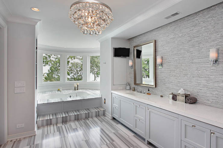 Highgate Builders - bathrooms - Robert Abbey Bling Chandelier, gray bathroom, white and gray bathrooms, gray master bath, gray master bathrooms, white and gray master bathrooms, curved windows, step up bathtub, step up tub, wainscoted tub, wainscoted bathtub, gray wainscoted tub, gray wainscoted bathtub, striped marble, gray striped marble, striped gray marble, striped gray marble floor, bathroom alcove, master bathroom alcove, gray cabinets, gray bathroom cabinets, gray vanity cabinets, white countertops, gray tiles, gray mosaic tiles, gray mosaic backsplash, bathroom tv, bathroom tv ideas, inset medicine cabinet, robert abbey bling chandelier, bathroom chandeliers,
