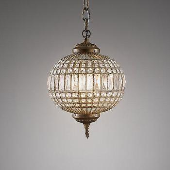 Lighting - Casablanca Small Crystal Pendant I RH Baby and Child - crystal moroccan pendant, round crystal pendant light, sphere shaped crystal pendant,