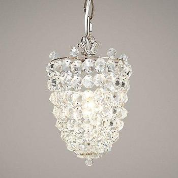 Lighting - Chantilly Crystal Pendant Pewter I RH Baby and Child - cone shaped crystal pendant, faceted crystal pendant, crystal link pendant light,