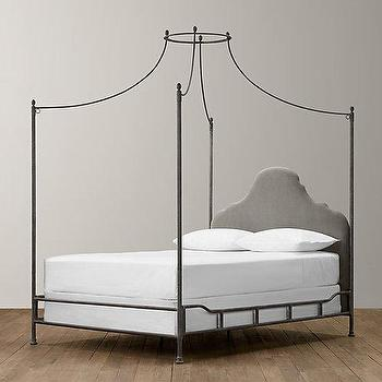 Beds/Headboards - Allegra Iron Canopy Bed I RH Baby and Child - iron canopy bed, canopy bed with upholstered headboard, british campaign canopy bed, iron campaign canopy bed,