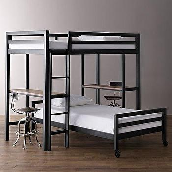 Beds/Headboards - Industrial Loft Study Bunk Bed with 2 Desks I RH Baby and Child - industrial bunk bed, industrial loft bunk bed, steel framed bunk bed, steel loft bunk bed, industrial bunk bed with desks,