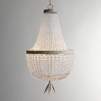 Lighting - Dauphine Crystal Empire Chandelier I RH Baby and Child - crystal bead chandelier, tiered crystal bead chandelier, clear crystal bead chandelier,