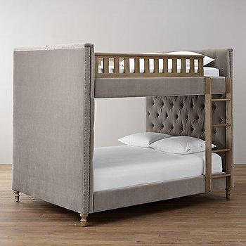 Beds/Headboards - Chesterfield Upholstered Full-Over-Full Bunk Bed I RH Baby and Child - gray tufted bunk bed, gray velvet tufted bunk bed, upholstered kids bunk bed,