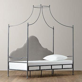 Beds/Headboards - Allegra Iron Canopy Daybed I RH Baby and Child - iron canopy daybed, iron campaign daybed, campaign style daybed, iron daybed with upholstered headboard,