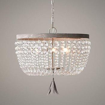 Lighting - Dauphine Crystal Large Pendant I RH Baby and Child - crystal beaded pendant, crystal beaded chandelier, aged metal and crystal pendant, crystal strand pendant light,