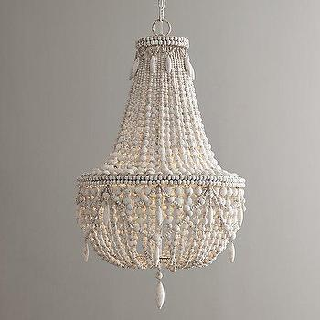 Lighting - Anselme Chandelier I RH Baby and Child - wooden beaded chandelier, white beaded chandelier, white wood bead chandelier,