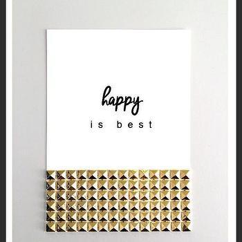 Art/Wall Decor - Happy is Best Studs Print | Luciana - happy is best print, quote print, gold studs print, typography handmade print, gold white black print